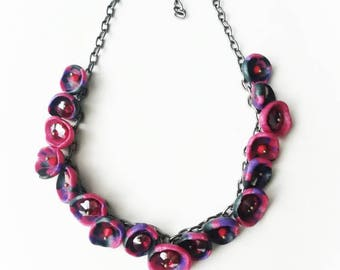 Fuchsia red purple polymer clay necklace exclusive handmade jewelry purple blue unique black gift for her for Mom big beads boho beaded glam