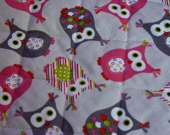 Quilted fabric pink owls (1 m / 1.50 m)