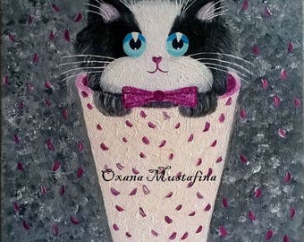 Acrylic painting romantic cat with rose petals.