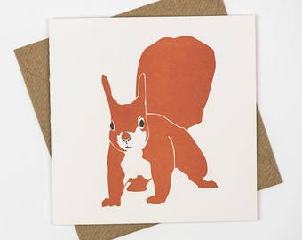 Red Squirrel - Forest Animals - Luxury Cards - Woodland collection - Handmade Cards - Letterpress Cards - Birthday Card - Cute Squirrel