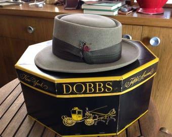 Vintage 1950's Dobbs Hat Box.and Man's Rainbow Fedora