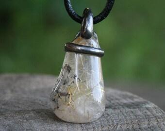 quartz necklace, crystal necklace, gold rutile quartz, men necklace, quartz pendant, men rutilated quartz, ancientold silver tin