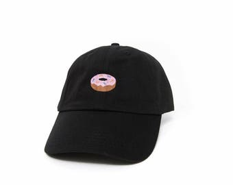 Donut Hat, Donut Dad Hat, Donut Baseball Cap, Embroidered Baseball Cap, Adjustable Strap Back Baseball Cap, Low Profile, Black