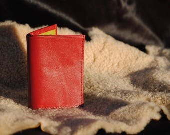 Red and lime green leather card holder