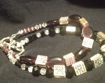 Purple and black rhinestone and glass bead bracelet set with toggle clasps