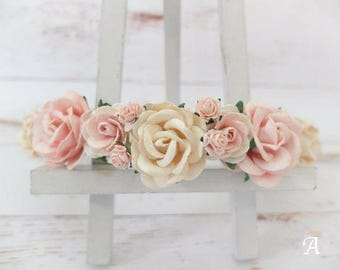 Flower crown - ivory and blush flower headpiece - hair accessories - floral hair wreath - halo - garland