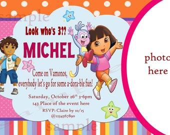 Dora and Diego Birthday Invitation. Dora and Diego Invitation. Dora and Diego Party. Dora Invitation. Digital (you print)