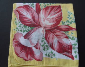 Vibrant Yellow 1950's Vintage Retro Hankie Estate Sale Shabby Chic