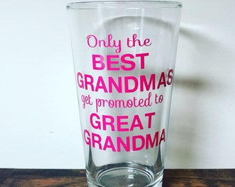 Only the Best Grandmas Get Promoted to Great Grandma Cup | Grandma Stemless Wine Glass | Grandma to Be | Mema Cup | Pregnancy Announcement