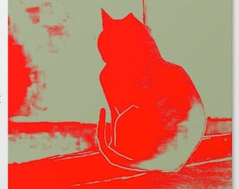 Red cat art, Bright Canvas Print, Woman, Colourful, Cat, Abstract cat art, Large canvas, Animal art, Modern large canvas art, Free shipping
