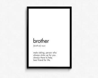 Brother Print, Brother Definition Sign, Definition Printable, Definition of Brother, Gift Brother, Dictionary Art,Brother Quotes,11x14 Print