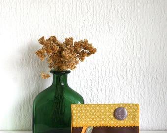 Checkbook / door cards(maps) camel Collection Asanoha mustard