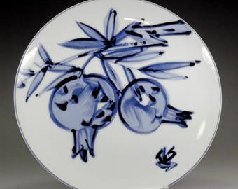 Japanese Blue and White Porcelain plate by Kondo Yuzo #2669