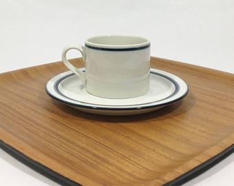 Dansk Bistro Christianshavn Blue Stripe Flat Cup & Saucer Vintage Dansk Japan