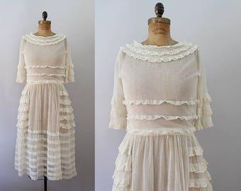 1910s Net Dress / Antique 1910s Edwardian Dress / M