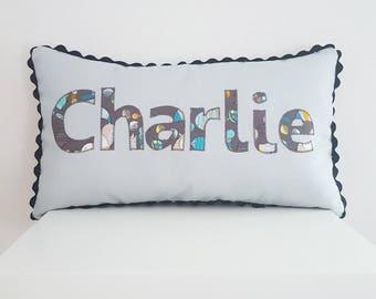 Personalised Name Cushion. custom name pillow. nursery pillow. baby boy gift. keepsake. nursery decor. 1st birthday. Tummy time. Boy present