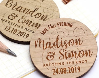 Save The Date Magnet, Rustic Wooden Save the Date, Rustic Wedding Save the Date Personalised Wedding Invite, Custom Wedding Magnet