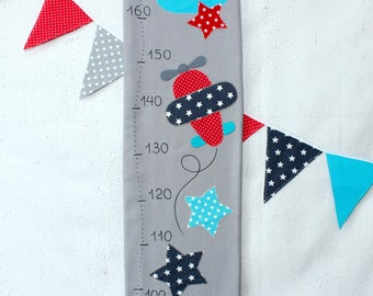 Fabric Growth Chart, Airplane, Height Chart, Navy,Gray,Red, Personalized growth chart, Nursery Boy's, Baby Shower Gift, Nursery Wall Decor,