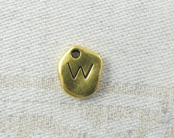 "Gold Irregular-Shape Letter ""W"" Charm 1 or 5 letters per package  ALF001w-GL"