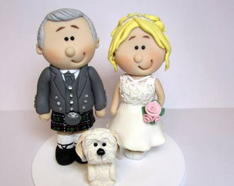 Wedding Cake Topper,  Bride And Groom with pet dog, Custom made to order, wedding cake figurines, cake decoration
