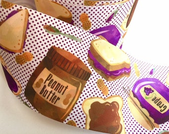 3 inch Peanut Butter and Jelly Best Friends BFF Sandwich Printed Grosgrain Ribbon Cheer Hair Bow - 3""
