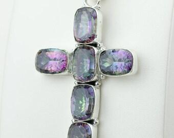 Mystic Topaz Cross 925 S0LID Sterling Silver Pendant + 4MM Snake Chain p4199