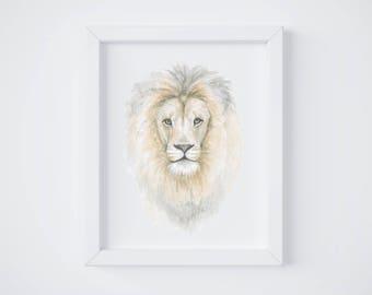 Lion Watercolor Print - Lion art - Lion Painting - Safari Animal - Safari Animal Painting - Lion - Watercolor - Home Decor - Lion Head