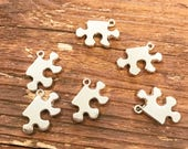 Puzzle piece charms, silver tone, autism awareness, set of six (6)
