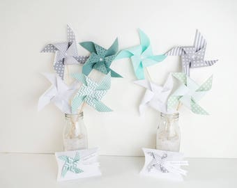 8 spikes windmills Mint green, water, grey and white - party table decoration, candy bar, birthday