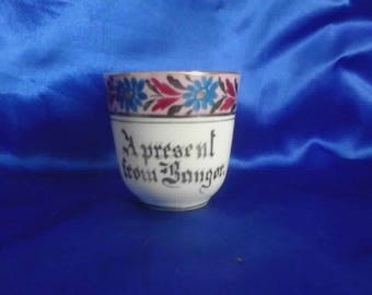 "Victorian Pink Luster & White Tea Cup ""A Present from Bangor"" Souvenir Ware"