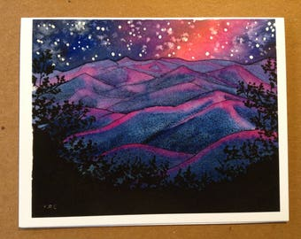 Appalachian Trail Greeting Card - Blood Mountain Midnight, Georgia - Blank Fine Art Notecard