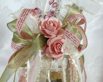 Cottage Chic Altered Bottle, Shabby Chic Bottle, Altered Bottle, Ribbons Lace Bottle, Romantic Altered Bottle, Ivory Pink Sage Bottle