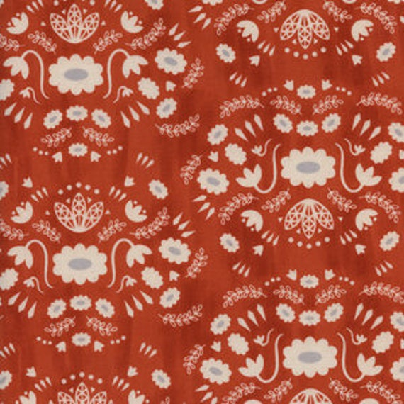 Changing Pad Cover - Flower Shop Folk in Earth - MADE-to-ORDER - floral rust changing pad, orange red flower change pad, bohemian