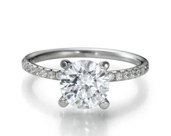 1 Carat F SI1 Brilliant Diamond Engagement Ring Round Cut 14K White Gold