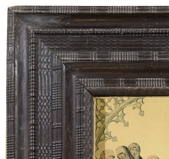 Dutch early 18th century black ebonised ripple milled picture frame with Hans Memling print