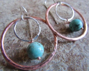 thin copper loop w/turquoise