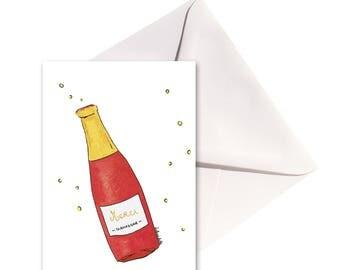 Carte pliée Merci champagne, enveloppe blanche.