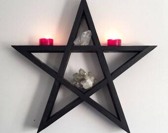 Star pentagram crystal shelf