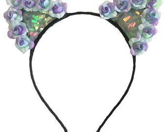 Holographic Pastel Kitties, Cat Ears, Flower Crown, Flower Cat Ears, EDC, Flower Headband, Floral Cat Ears, Kitty Ears, Rave
