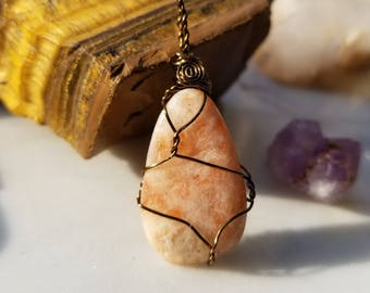 Shimmering Sunstone Pendant of Cheerfulness, Vitality, and Light