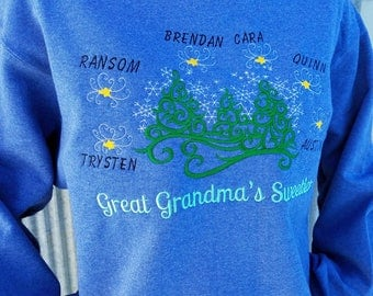 Personalized Whimsical Winter Theme Sweatshirt For Grandma - Embroidered Design With Names