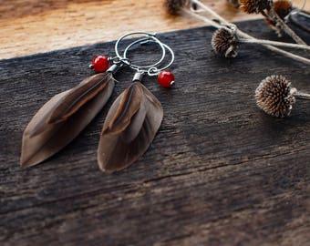 Feather earrings, boho earrings, hoop earrings