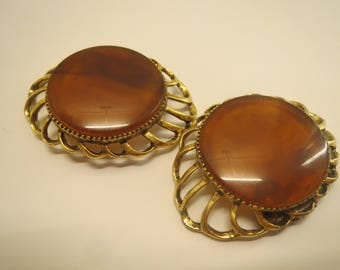 vintage Musi signed amber brown gold tone shoe clips