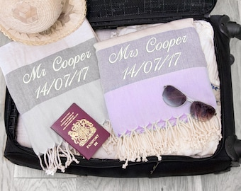 Personalised Mr and Mrs Wedding Gift / Bride & Groom Honeymoon Beach Towels, ANY TEXT, Dove Grey with Pebble Grey