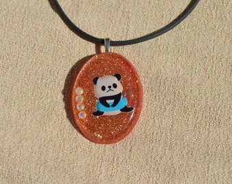Red and Gold Playful Panda Necklace, Resin Jewelry