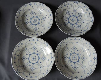 4 x Large soup plate porcelain plate hand painted-good quality * straw flower/Indian Blue * Construction/white * wavy Edge