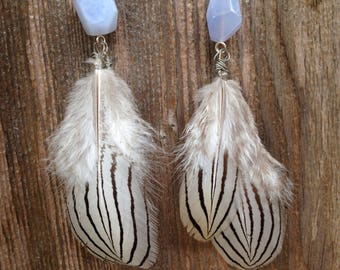 Feather earrings with tumbled blue agate stone
