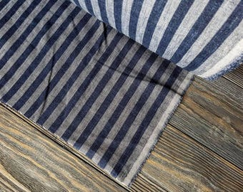 Striped blue linen fabric by the meter, blue flax fabric with stripes, striped blue white linen fabric by the yard 200GSM 7oz