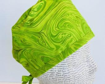 Men's Scrub Cap scrub hat featuring a lime green swirl material