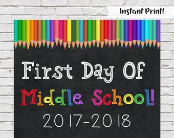First Day of Middle School Sign, Back to School Sign, Middle School Chalkboard Sign, Printable Middle School Sign, Rainbow School Sign